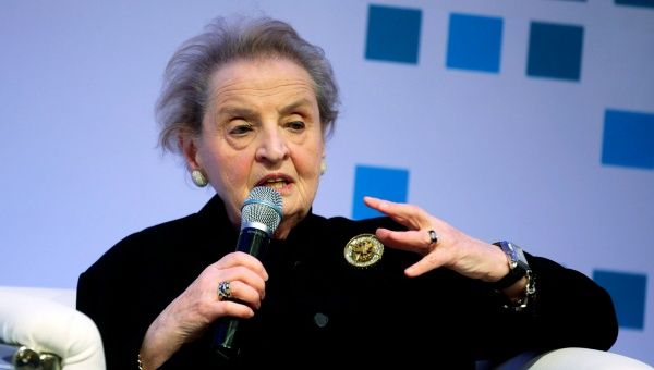 Chairwoman of the State Department program Partners for a New Beginning (PNB) and former U.S. Secretary of State Madeleine Albright speaks during the Investment and Entrepreneurship Conference in Tunis March 5, 2015.