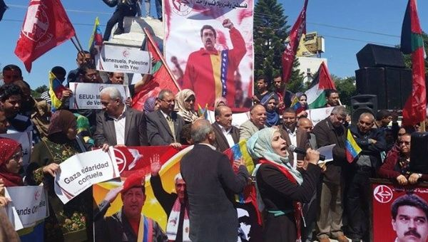 Palestinians rallied in solidarity with Venezuela
