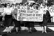 Argentina's Grandmothers of the Plaza de Mayo demanding justice for the disappeared. Sign reads