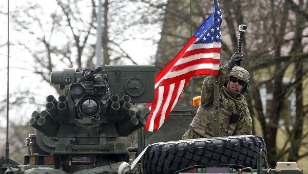 "Soldiers of the U.S. Army 3rd squadron, 2nd Cavalry Regiment as the troops of the ""Dragoon Ride"" military exercise arrive at their home base at Rose Barracks in Vilseck April 1, 2015."