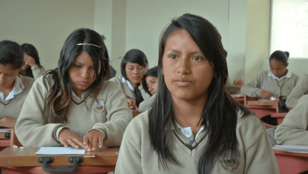 Nauqui is able to speak Kichwa at home and at school as part of the curriculum (teleSUR)