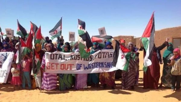 Sahrawi women protesting against resource exploitation in Western Sahara earlier this year