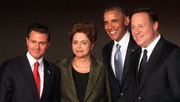 From left to right: the presidents of Mexico, Enrique Peña Nieto; Brazil, Dilma Rousseff; U.S., Barack Obama; and Panama, Juan Carlos Varela, pose before the start of the Summit of the Americas, April 10, 2015