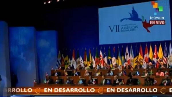 Screenshot of the inauguration of the Summit of the Americas in Panama, 2015.
