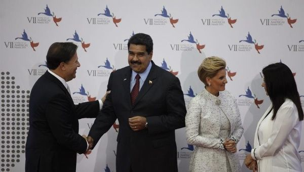 Venezuelan President Nicholas Maduro at the inauguration of the Seventh Summit of the Americas, Panama, 2015.