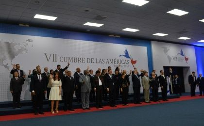 The 35 heads of state at the Seventh Summit of the Americas