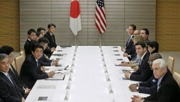U.S. House of Representatives Ways and Means Committee Chairman Paul Ryan (3rd R) meets with Japan