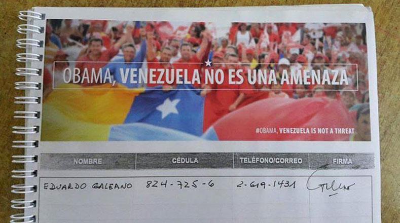 Galeano, fiel a la causa latinoamericana, firmó para exigir la derogación del decreto imperialista de EE.UU. sobre Venezuela.