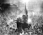 People celebrating the proclamation of the Second Republic in Madrid's Plaza Sol in 1931.