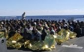 Migrants after a rescue operation by the Italian navy off the coast of Sicily.