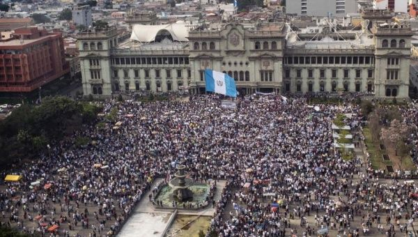 Aerial view of a protest in Guatemala City against a corruption case involving high-level officials, April 25, 2015.