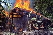 An alleged Vietcong camp is torched by U.S. soldiers.