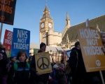 Anti-nuclear protesters gather in central London on January 24, 2015