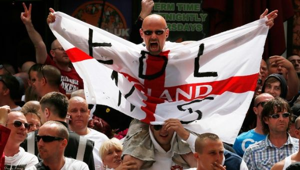 Supporters of the right-wing and anti-Islamist English Defence League (EDL) protest in Birmingham.