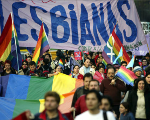 LGBT rights activists march during a previous pride parade in Santiago, Chile.