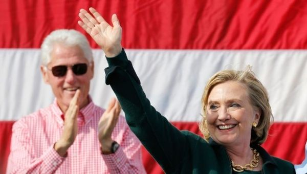 Former president Bill Clinton with current presidential candidate Hillary Clinton