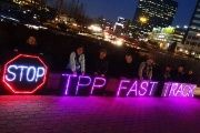 "Activists in Dallas oppose the Trans-Pacific Partnership and ""fast track."""