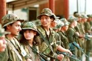 FARC members at a base.