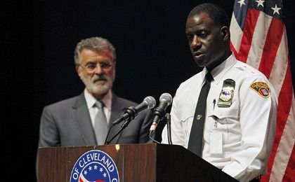 Cleveland Police Chief Calvin Williams (R) and Cleveland Mayor Frank Jackson