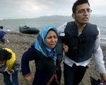 An Afghan family arrives in Greece after crossing a portion of the Aegean Sea on a dinghy.
