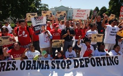 Protesters demonstrate outside the White House to demand an end to deportations and ineffective immigration policy.