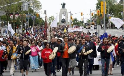 Over 7,000 joined the Walk for Reconciliation as part of the closing ceremonies of the Truth and Rec Commission in Ottawa May 31, 2015.