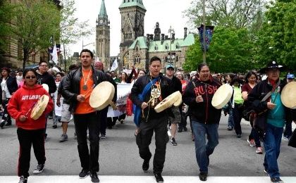 Drummers lead the Walk for Reconciliation in Ottawa May 31, 2015, as part of the Truth and Reconciliation Commission events accompanying the release of the report.