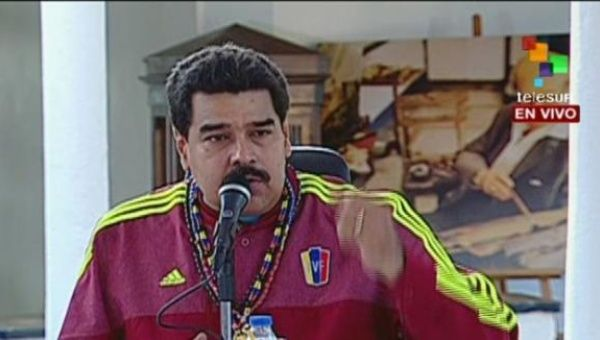 President Maduro speaking during a visit to the state of Miranda