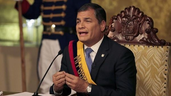 Correa makes a speech about delaying tax vote on national television, June 15, 2015.