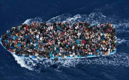 A boat carrying migrants in the Mediterranean, February 12, 2015.