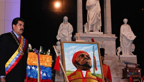 Maduro paid homage to independence fighter Pedro Camejo, the only black military officer who fought against the Spanish in the independence army of Simon Bolivar.