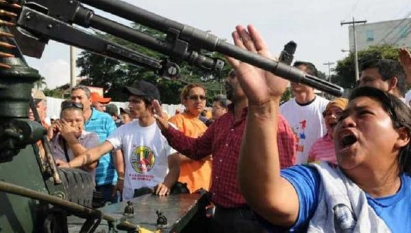 Honduran activists protesting the June 28 coup d