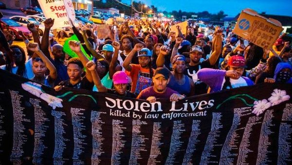Protest in Ferguson, Missouri following the killing of Michael Brown.