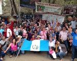 La Puya's activists celebrating two years of peaceful resistance in March 2014.