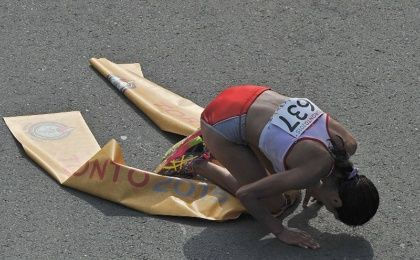 Gladys Tejeda after reaching the finish line