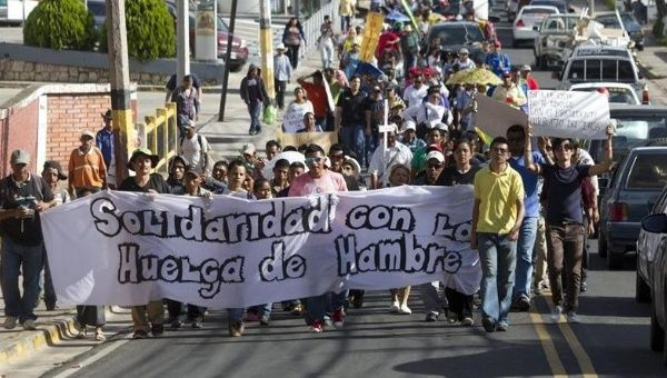 Indigenous activists and human rights defenders march in support of hunger strikers in Tegucigalpa on July 23.