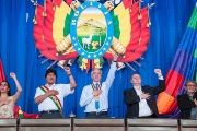 Bolivian President Evo Morales (2nd left) presides over a special session of the Plurinational Legislative Assembly in Trinidad, Bolivia, August 6, 2015.