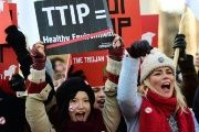 Protesters call for the rejection of the TTIP in Brussels, Belgium targeting the European Commission earlier this year.