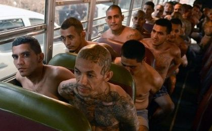 Gang members are transferred by bus to a high-security prison in Izalco, El Salvador on April 24, 2015.