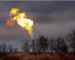 A gas flare burns at a fracking site in rural Bradford County, Pennsylvania, January 9, 2012.