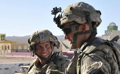 Staff Sgt. Robert Bales (L) is seen during an exercise at the National Training Center in Fort Irwin, California, in this August 23, 2011, photo.
