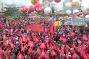 Worker unions gather in Sao Paulo, where the largest number of demonstrators was registered.
