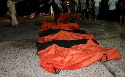 A view of the bodies of of dead migrants that were recovered by the Libyan coastguard after a boat sank off the coastal town of Zuwara, west of Tripoli, August 27, 2015.