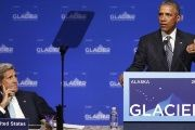President Obama (R) during his speech at the Glacier Conference in Alaska