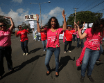 Nicaraguan women protesting last October to demand that therapeutic abortion be legal again in the country.
