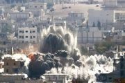 An explosion following an airstrike on the Syrian town of Kobani