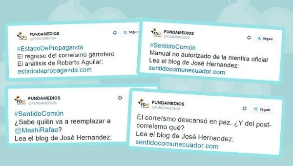 A composite image shows a number of tweets issued by Fundamedios that Ecuadorean official allege show the political nature of the work by the NGO.