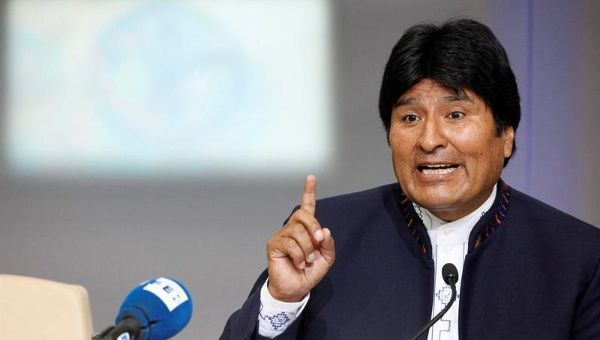 President Evo Morales during a press conference.