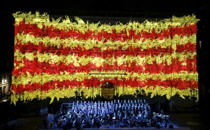 "The Catalan flag is seen on the facade of the Palau de la Generalitat during a ceremony to mark ""Diada de Catalunya"" (Catalunya"