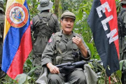 Colombian guerrilla group ELN Commander Nicolas Rodriguez, or ''Gabino',' speaks in April 2015.